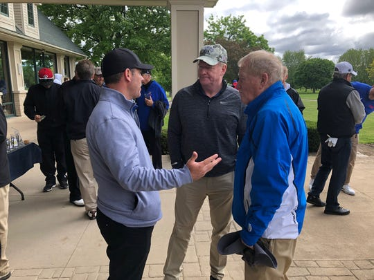 Bills GM Brandon Beane (left) speaks with NFL commissioner Roger Goodell (center) and former Bills GM Bill Polian at Jim Kelly's golf tournament Monday.