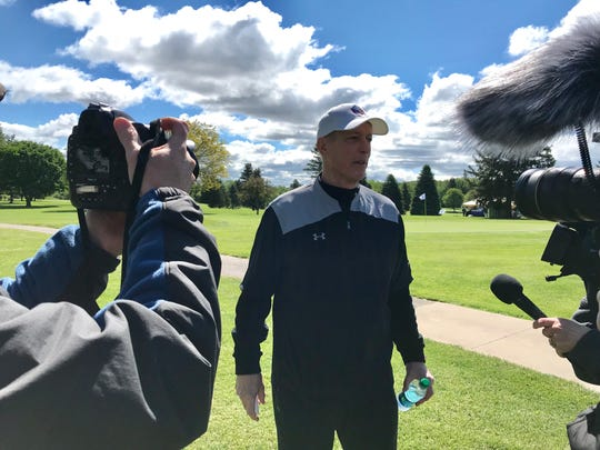 "Jim Kelly, 59, at his 33rd Kelly Golf Classic at Terry Hills Golf. ""There are guys out there with so much on their plate but they take the time to come here,'' he said. ""The bottom line guys, and I've said it the last 5-6 years, when I hear from the people who represent the charities we give to from Kelly for Kids, when I hear what a $5,000 check means to them…and they start to cry. You realize how important what we do here means to them. You listen to what they do with their foundations, and you get it.''"