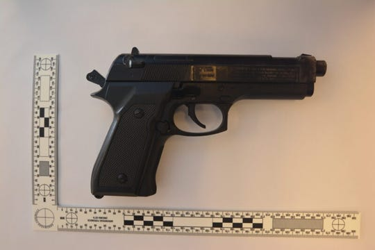Redding police Sgt. Todd Cogle said the handgun found on the Anderson man was a spring-air BB pistol, which was identical in appearance to a genuine Beretta 92 handgun.