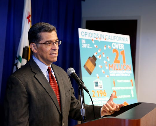 California Attorney General Xavier Becerra discusses the lawsuit his office has filed to Purdue Pharma for it's painkiller Oxycontin, during a news conference, Monday, June 3, 2019, in Sacramento, Calif. The suit, filed against Purdue and its former president, Dr. Richard Sackler, alleges it falsely promoted the drug as not addictive even as it emerged as among of the most widely abused in the United States. (AP Photo/Rich Pedroncelli)