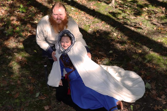 Baltimore-based vendors Jacqueline Thomas and Shane Strobel come to the Viking event at Brimming Horn in period garb.