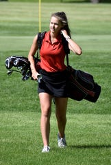Yankton's Morgan Strahl walks between holes at the 2019 Class AA state golf tournament in Watertown.