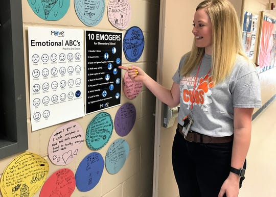 Cleveland Elementary teacher Lindsey Olson talks about the emojis used as part of a new emotional well-being program at Sioux Falls School District elementary campuses this year.
