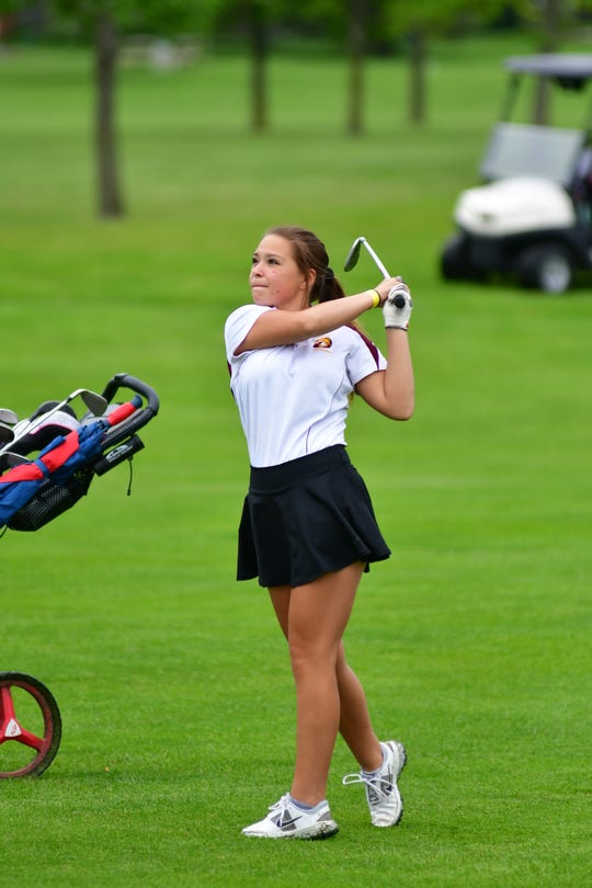 Deubrook Area's Courtni Frank tracks her shot at the 2019 Class B state golf tournament in Yankton.