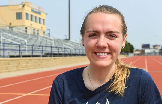 Jackie Turner smiles on the O'Gorman High School track Friday, May 31, in Sioux Falls.