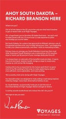 Richard Branson penned an open letter to South Dakota in an advertisement in the New York Times.