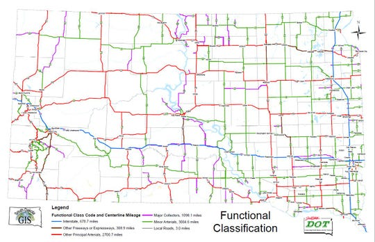 South Dakota DOT functional classification map for state roads.