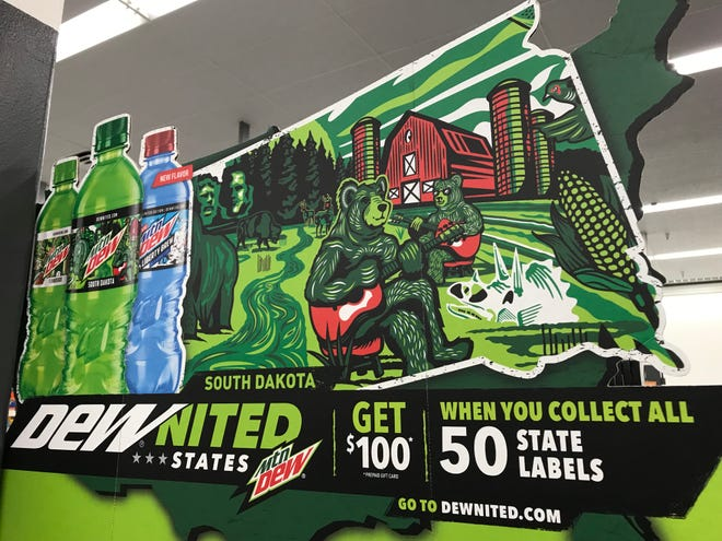 Marketing material for Mountain Dew's DEWited States 50-state marketing campaign, featuring South Dakota on the label of the soft drink maker's bottles.