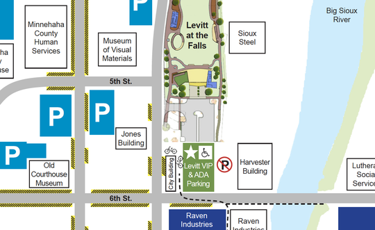 Levitt at the Falls promotes patrons to use public parking spaces on the weekend.