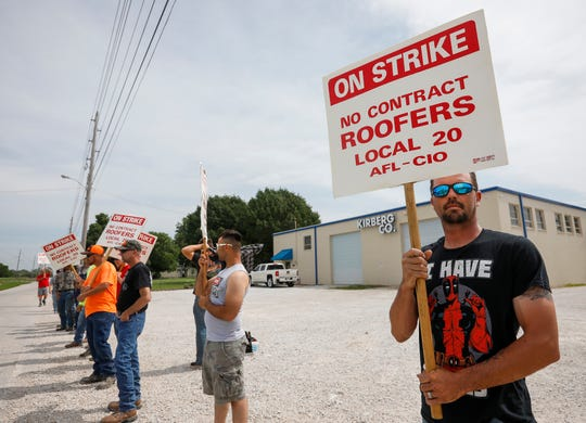 About 30 employees of Kirberg Company on 1140 N. Eldon Ave. were on strike Monday, June 3, 2019.