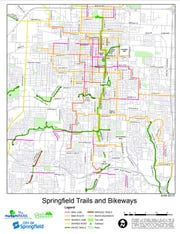 Map of Springfield trails and bikeways.