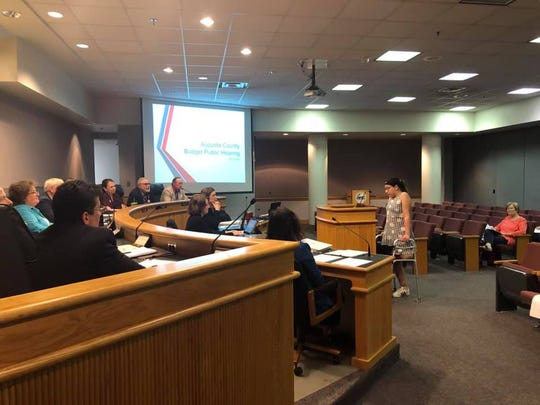 Maggie Martino spoke at an Augusta County Board of Supervisors meeting during Limb Loss Awareness Month in April 2019.
