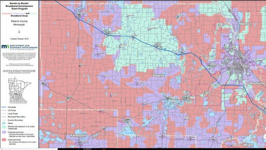 A 2018 Broadband Service Inventory map of Stearns County, from the Minnesota Office of Broadband Development. The pink indicates unserved areas, purple shows underserved areas and green highlights served areas.