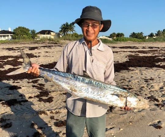This unidentified angler caught a kingfish from the beach in Vero Beach while casting a large silver spoon.