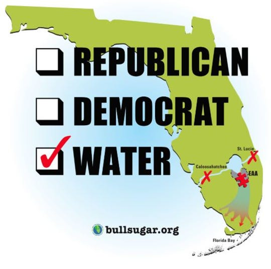 Bullsugar.org signs ask voters to eschew political parties and vote for clean water.