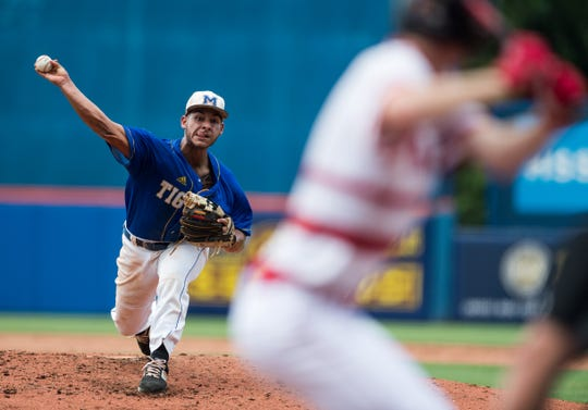 Martin County's Tibur Rivero throws a pitch in the 12th annual Mike Picano Treasure Coast Senior All-Star Game on Monday, June 3, 2019, at First Data Field in Port St. Lucie.