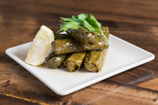 Stuffed grape leaves from the Great Greek Mediterranean Grill in Port St. Lucie.