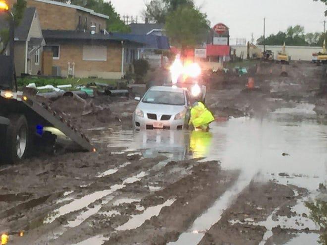 A car stuck on Thomas Street on Saturday.