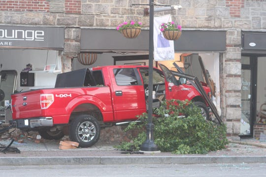 A driver crashed a pickup truck into Larchmont businesses on Palmer Avenue on June 3, 2019.