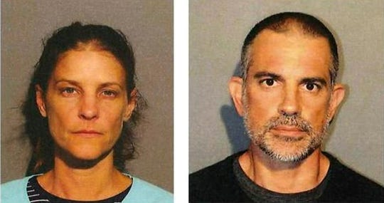 This photo provided by the New Canaan Police Department shows Michelle C. Troconis, left, and Fotis Dulos, right. Police in Connecticut have arrested a missing mother of five's estranged husband and his girlfriend on charges of evidence tampering and hindering prosecution. New Canaan authorities announced Sunday, June 2, 2019, the arrests of 51-year-old Dulos and 44-year-old Troconis.