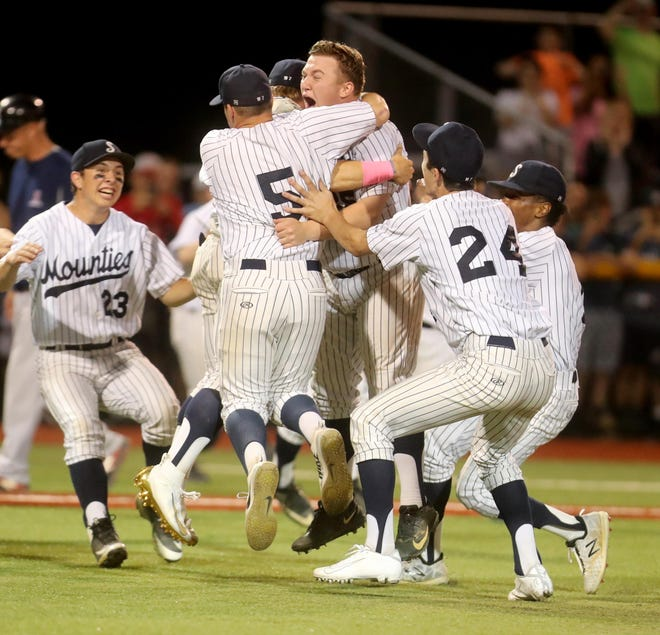 Suffern celebrates after defeating Ketcham 6-2 in the Section 1 Class AA baseball championship game at Pace University June 2, 2019.