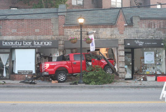 A driver crashed a pickup truck into businesses on Palmer Avenue in Larchmont on June 3, 2019.