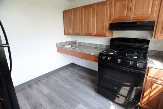 A renovated kitchen in an apartment at William A. Walsh Homes, a senior community affordable housing complex in Yonkers, May 31, 2019.