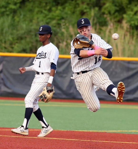 Dylan Hoy of Suffern throws out Xavier Kolhosser of Ketcham in the fourth inning of the Section 1 Class AA baseball championship game at Pace University June 2, 2019. Suffern defeated Ketcham 6-2.