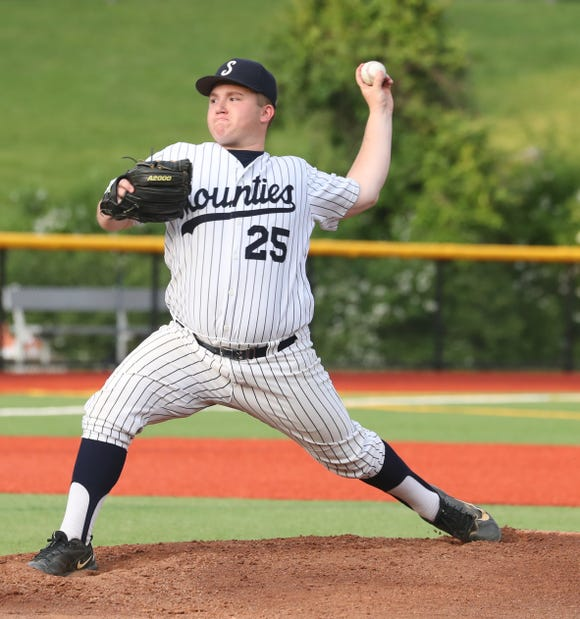 Adam Bloch of Suffern pitches to Ketcham during the Section 1 Class AA baseball championship game at Pace University June 2, 2019. Bloch pitched a complete game as Suffern defeated Ketcham 6-2.