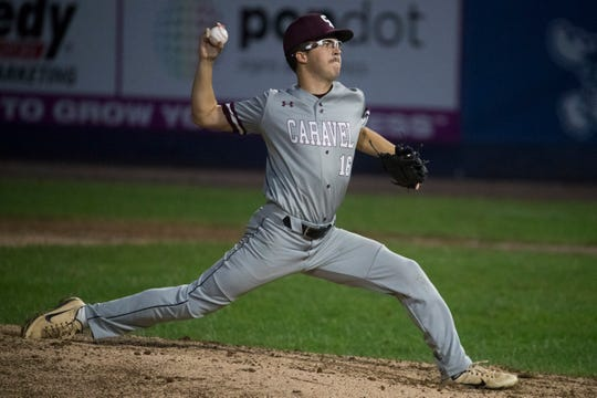 Caravel's Thomas Tracey (16) pitches Sunday night against Appoquinimink in the DIAA Baseball Championship at Frawley Stadium.