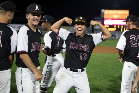 Appoquinimink celebrates winning the 2019 DIAA Baseball State Title against Caravel Academy 3-0 Sunday night at Frawley Stadium.