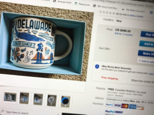 """This """"Lower Slower"""" mug is listed on eBay for $499."""