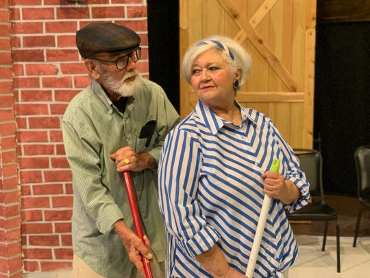 "Irving (Bill Painter) and Peg (Nona Bailey) in ""Kalamazoo,"" a play about relationships past a certain age that  runs 7:30 p.m. Friday and Saturday through June 29 on the Backdoor Theatre Dinner Stage."
