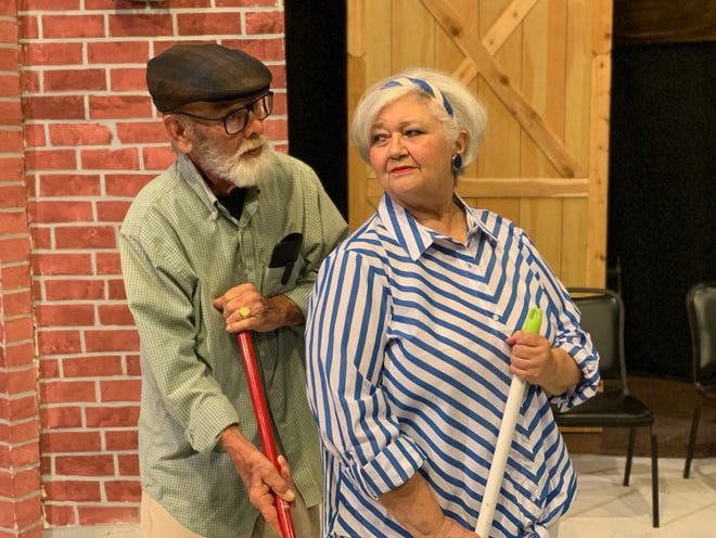 """Irving (Bill Painter) and Peg (Nona Bailey) in """"Kalamazoo,"""" a play about relationships past a certain age that  runs 7:30 p.m. Friday and Saturday through June 29 on the Backdoor Theatre Dinner Stage."""