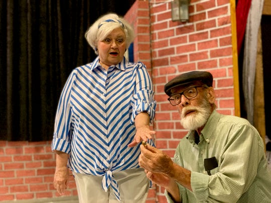 "Irving (Bill Painter) and Peg (Nona Bailey) in ""Kalamazoo,"" a play about relationships past a certain age that opens 7:30 p.m. Friday June 14 and Saturday June 15 on the Backdoor Theatre Dinner Stage. The play runs Thursday, Fridays and Saturdays through June 29."