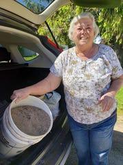 Bridget Staley, Seymour, with her fertilizer gold.