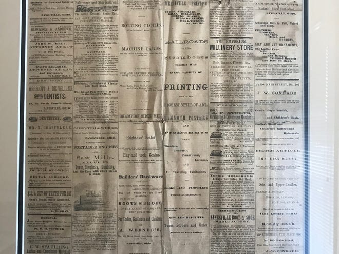 A look at the front page of the Zanesville Daily Signal from Oct. 29, 1867.