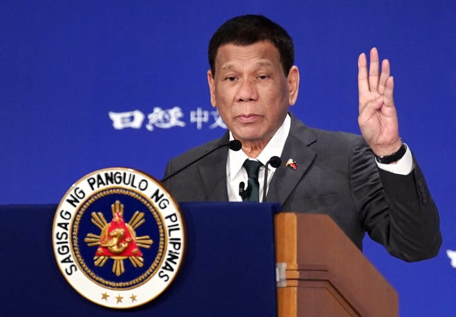 """Philippine President Rodrigo Duterte delivers a speech at the special session of the International Conference on """"The Future of Asia"""" on May 31, 2019, in Tokyo."""
