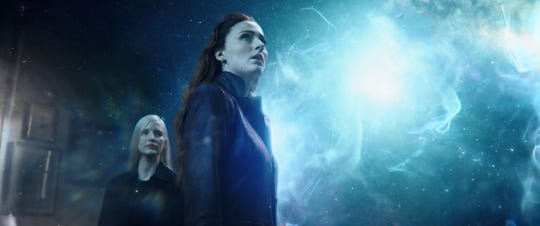 "Jessica Chastain (left) plays an otherworldly being who takes an interest in the new god-like abilities of Jean Grey (Sophie Turner) in ""Dark Phoenix."""