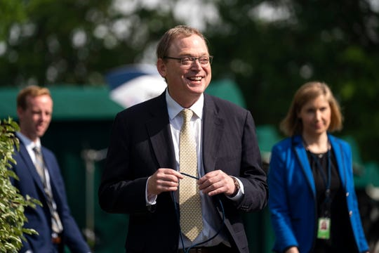 Kevin Hassett, chairman of the Council of Economic Advisers, walks outside the White House on May 3.