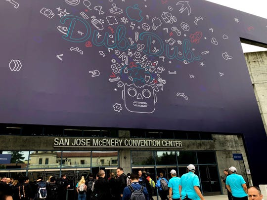 The scene in San Jose, California during Apple's annual WWDC conference.
