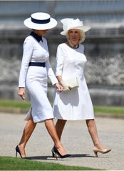 Camilla, Duchess of Cornwall, and first lady Melania Trump both wore white on the first day of the Trumps' three-day state visit.