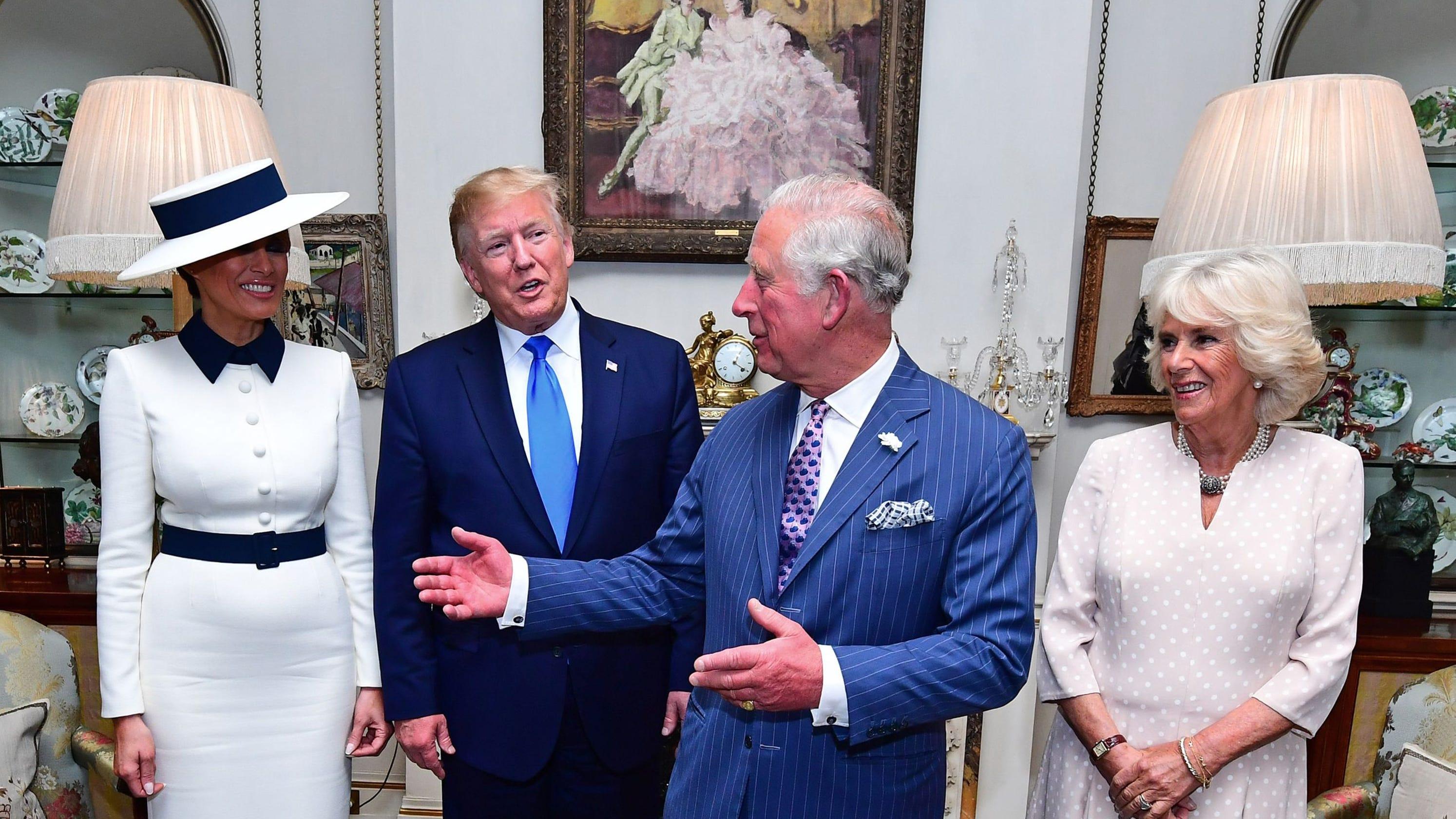 c0d29180 Trump, Melania, Prince Charles, Camilla have tea: What fell on floor?