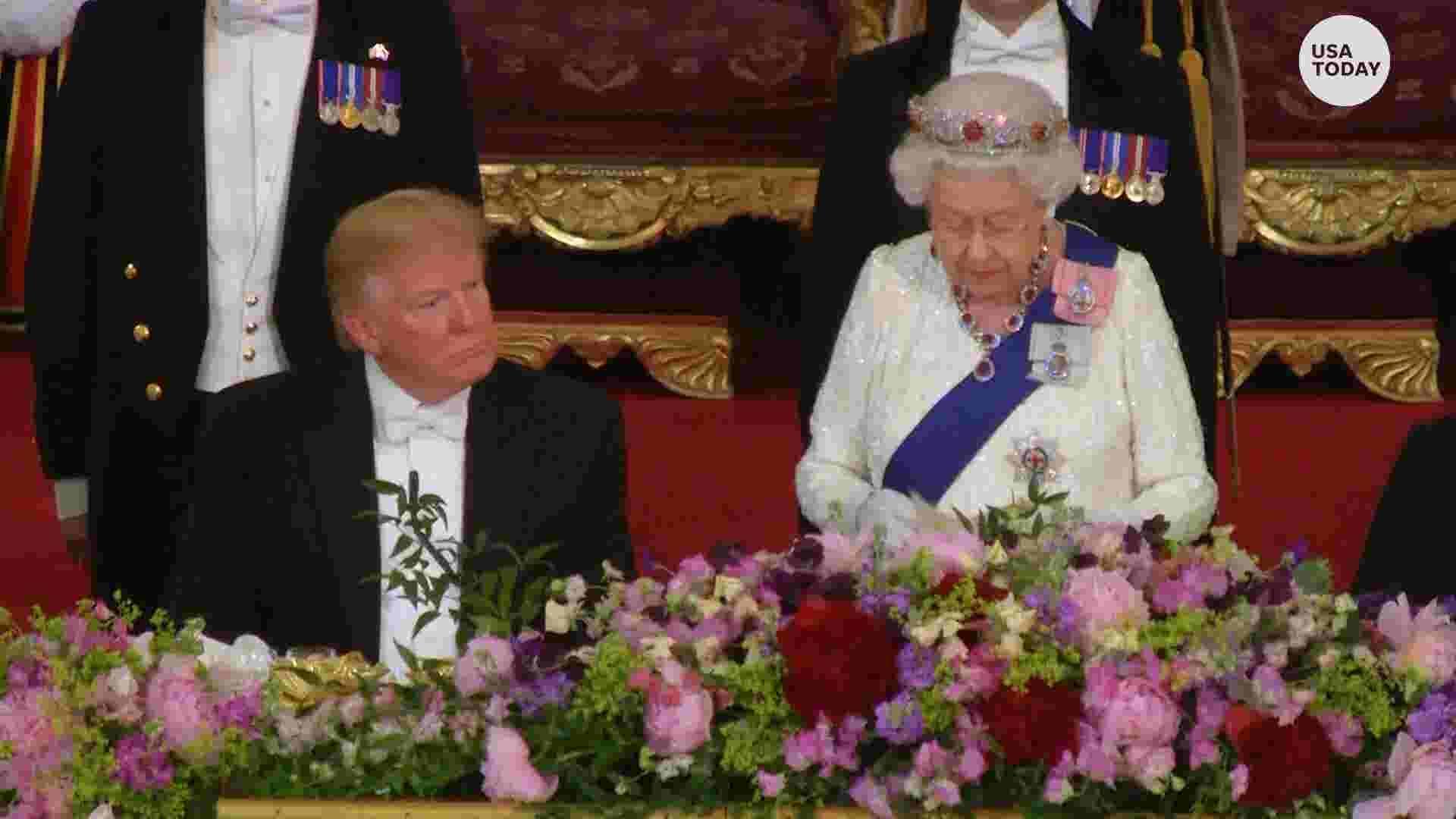 5a474af6b3469 Trump, Melania at Queen Elizabeth banquet; Prince William, Kate attend