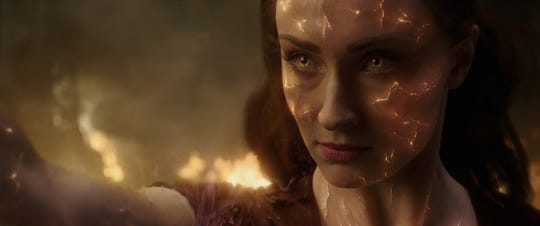"Sophie Turner's  Jean Grey gets imbued with great power that tears her apart, inside and out, in the X-Men film ""Dark Phoenix."""