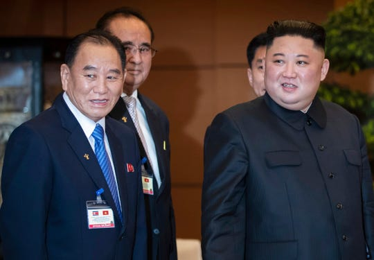 In this March 1, 2019, file photo, North Korean leader Kim Jong Un, right, accompanied by Kim Yong Chol, left, vice chairman of Worker's Party of Korea, meets Nguyen Thi Kim Ngan, chairwoman of Vietnam's National Assembly, at the National Assembly in Hanoi, Vietnam.