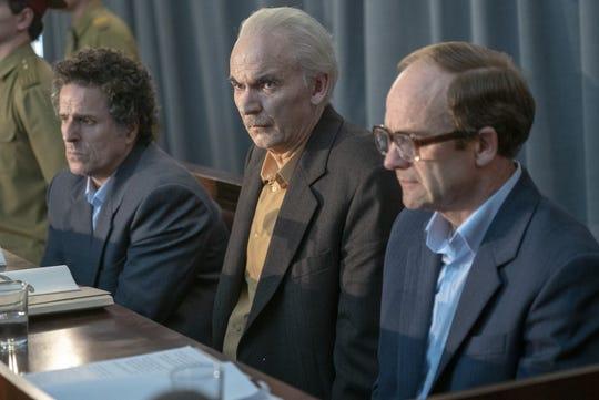"""Bryukhanov (Con O'Neill),  Anatoly Dyatlov (Paul Ritter), Fomin (Adrian Rawlins) go on trial in """"Chernobyl."""""""
