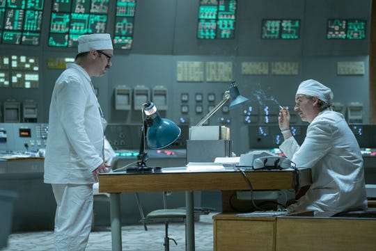 Akimov (Sam Troughten) and Anatoly Dyatlov (Paul Ritter) in the Chernobyl control room before the accident.