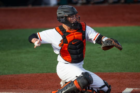 Oregon State's Adley Rutschman during a game in 2019.