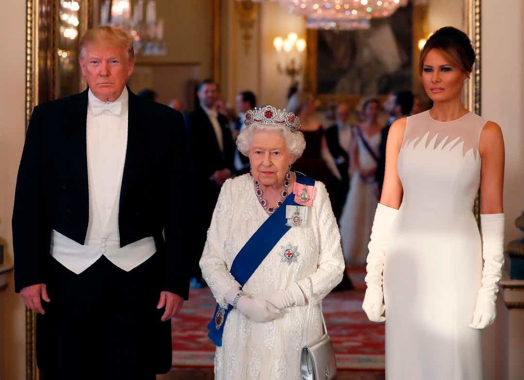 Queen Elizabeth's glittery state banquet for Trumps begins with toasts and national anthems